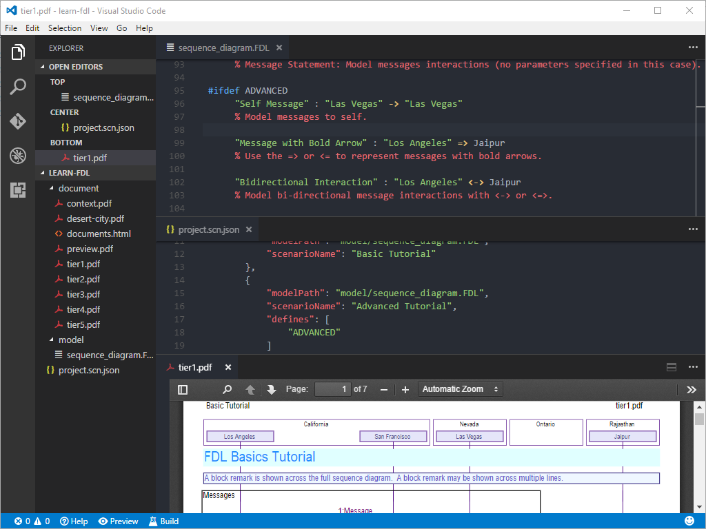Vscode window showing editor features